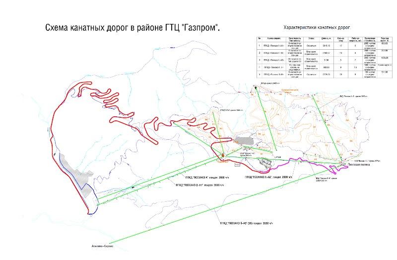 Схема канатных дорог в районе